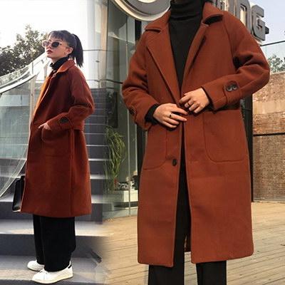 任選2件1588毛呢外套韓版外套中長版毛呢外套寬鬆顯瘦毛呢大衣【08G-F0408】
