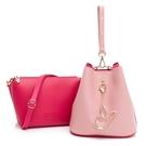 PLAYBOY- 手提包(可做斜背包使用) 拼接子母包系列 -紅色