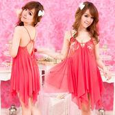 美麗尤物薄紗裙擺性感睡衣(紅)【滿千87折】包裝隱密