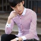 襯衫春季短袖寸衫衣男裝襯衫男長袖韓版修身潮流休閒夏天條紋男士襯衣 快速出貨