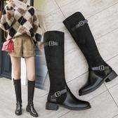 過漆靴 歐美復古粗跟高跟過膝長靴女高筒騎士靴長筒絨面靴子 鉅惠85折