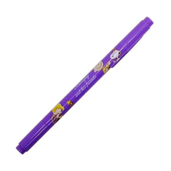 SNOOPY與好朋友雙頭水性彩色簽字筆(紫)★funbox★KAMIO_KM49442