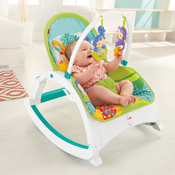 Fisher-Price費雪 - 熱帶雨林可攜式兩用震動安撫躺椅(搖椅)