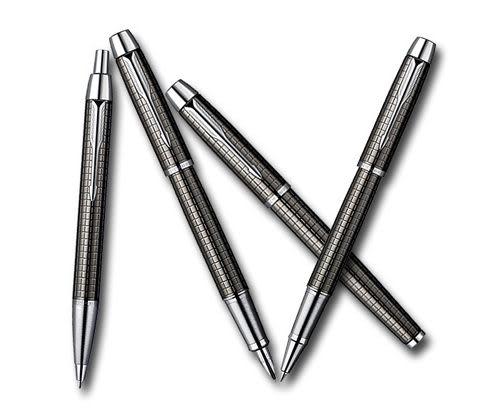 派克PARKER經典IM鈦金立體格紋金屬黑桿鋼珠筆