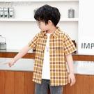 男童襯衫男童夏季短袖襯衫薄款格子襯衣洋氣印花中大童上衣兒童新款童裝潮 快速出貨