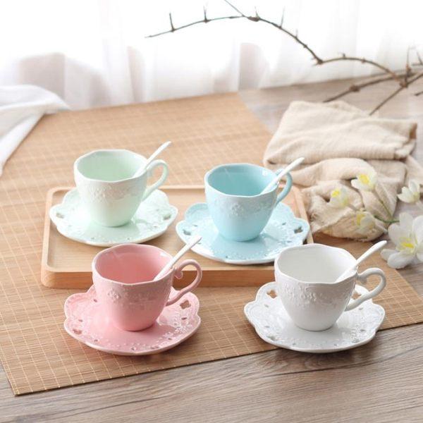 咖啡杯套裝簡約小奢華骨瓷英式下午茶茶具咖啡杯浮雕陶瓷花茶杯子