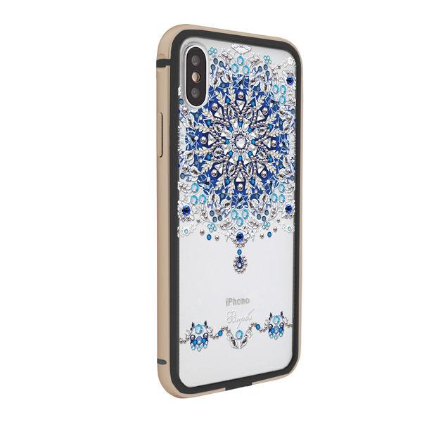 apbs iPhone Xs / iPhone X 5.8吋共用款施華彩鑽鋁合金屬框手機殼-黑金色冰雪情緣