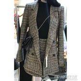 秋季顯瘦氣質千鳥格子西裝外套小A字裙套裝女潮     時尚教主