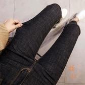 高腰牛仔褲女九分褲韓版緊身小腳褲顯瘦褲子【橘社小鎮】