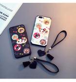 iPhone 6 6S 7 8 PLUS 手機殼 卡通 可愛 浮雕 魚骨 貓咪 保護套 全包 防摔 軟殼 愛心 手繩