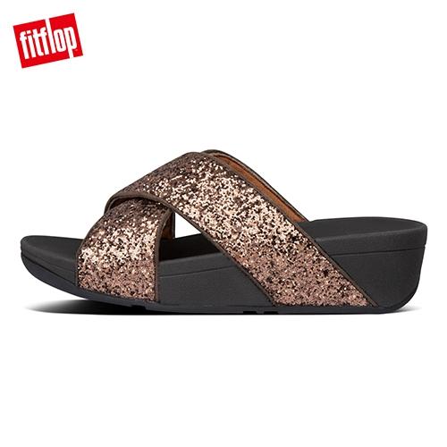 新降66折【FitFlop】LULU GLITTER SLIDES 經典亮片交叉涼鞋-女(巧克力棕)