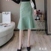 不規則高腰半身裙女秋季新款優雅荷葉邊中長款包臀通勤魚尾裙 KV5394 【野之旅】