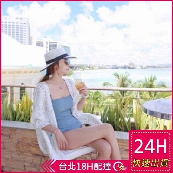 梨卡★現貨 - 韓國甜美沙灘外搭防曬外套罩衫-透視鏤空針織蕾絲雕花泳衣泳裝比基尼外衣C6137
