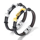 【5折超值價】時尚潮流一箭穿心造型男款鈦鋼皮手環