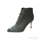 中大尺碼2019秋款英倫風馬丁靴時尚百搭高跟鞋細跟短靴秋冬裸靴 XN7926『黑色妹妹』
