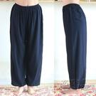夏季綿綢燈籠褲男士中老年加肥加大運動褲寬鬆人造棉睡褲棉綢長褲