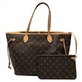 【台中米蘭站】展示品 Louis Vuitton Monogram Neverfull MM 肩背購物包(紫紅內裡)
