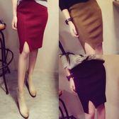 針織包臀短裙秋冬季高腰一步裙女修身顯瘦工作裙短款