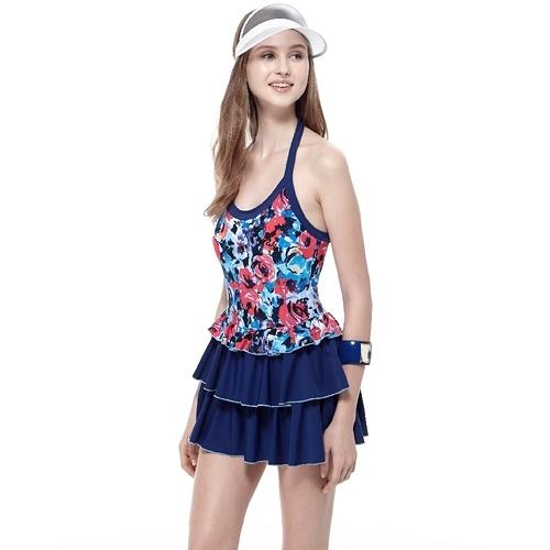 【南紡購物中心】【SAIN SOU】泡湯戲水SPA大女連身裙泳裝附泳帽A98641