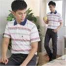 【大盤大】(P65108) 男裝 橫條紋POLO衫 短袖口袋休閒棉T 透氣涼感 運動 網眼 情人節【剩M和L號】