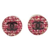 CHANEL 香奈兒 粉紫色壓克力內鑲交織毛呢針式耳環CC Round Button Earrings BRAND OFF
