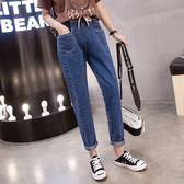 牛仔長褲 大尺碼 長褲 加肥加大尺碼牛仔長褲女夏新款寬鬆顯瘦高腰鬆緊腰九分褲