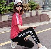 新款韓版時尚純棉運動套裝女夏寬鬆跑步服短袖長褲休閒兩件套
