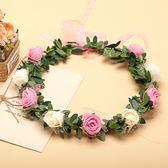 [粉白雙色玫瑰花 人造花髮帶 仿真花花圈 花冠假花環] 婚禮小物 生日禮物 求婚&畢業表演花禮