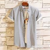 襯衫 襯衫男短袖夏季新款帥氣青年休閒卡通刺繡白襯衣男士修身寸衣