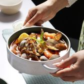 創意湯盤雙耳盤個性西餐盤家用菜盤點心早餐深盤陶瓷水果沙拉盤子 卡布奇诺