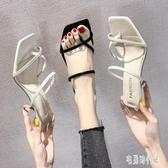 大尺碼涼拖鞋女外穿2020新款夏季時尚韓版套指細跟百搭高跟涼拖 LF3817【宅男時代城】