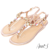 Ann'S水之戀-漸層彩色寶石小坡跟夾腳涼鞋-粉