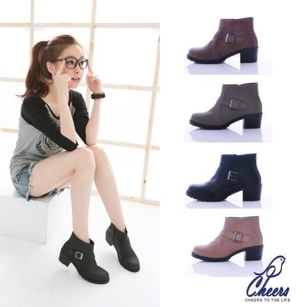 靴子。Cheers*個性騎士風格簡約扣帶帥氣短靴-四色 現【WP9358】