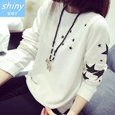 【V0134-14】shiny藍格子-瑕疵特賣.五角星星圓領寬鬆長袖薄款T恤