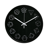 Lovel 30cm 幾何金屬框靜音時鐘-黑(G721B-BK)