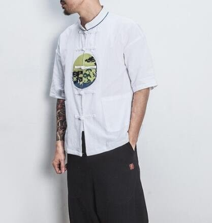 找到自己 MD 日系 潮 男 街頭 休閒簡約 棉麻 繩結鈕扣 圖案刺繡 五分袖 短袖T恤 特色短T