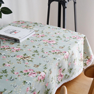 宜家►綠色碎花玫瑰花牡丹棉麻布藝蕾絲邊餐桌布 (90*90cm) 小清新田園風茶几布 隔熱墊 桌巾