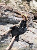 溫柔超仙顯瘦復古無袖收腰冷淡風連衣裙女夏2018新款裙子沙灘長裙