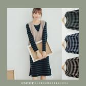 洋裝 高質感口袋條紋輕刷毛長版T恤.洋裝 三色-小C館日系