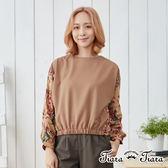 【Tiara Tiara】綺麗花袖落肩拼接上衣(卡其/黑)