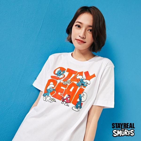 STAYREAL x 藍色小精靈 SMURFS淘氣Logo T