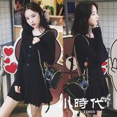 長袖洋裝 秋季新款女裝韓版顯瘦黑色裙子小香風粉色長袖針織秋冬連身裙   603-050