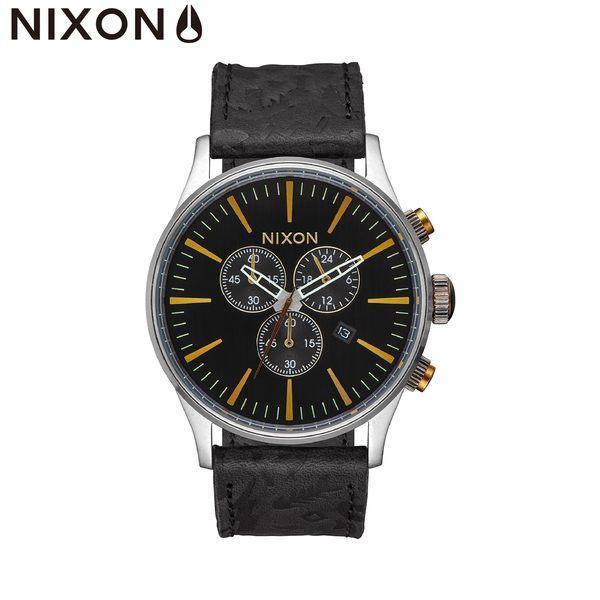NIXON手錶 原廠總代理A405-2222 The Sentry Chrono Leather 黑色 潮流時尚皮錶帶 男女 運動 生日情人節禮物