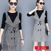 長袖背帶裙時尚連衣裙兩件套裝 S-2XL O-Ker歐珂兒 15643-C