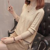針織衫春秋正韓寬鬆短款圓領開叉麻花打底套頭純色毛衣女 巴黎時尚