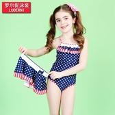 兒童游泳衣 女孩中大童女童連身裙式學生加大碼泡溫泉專業游泳裝 依夏嚴選