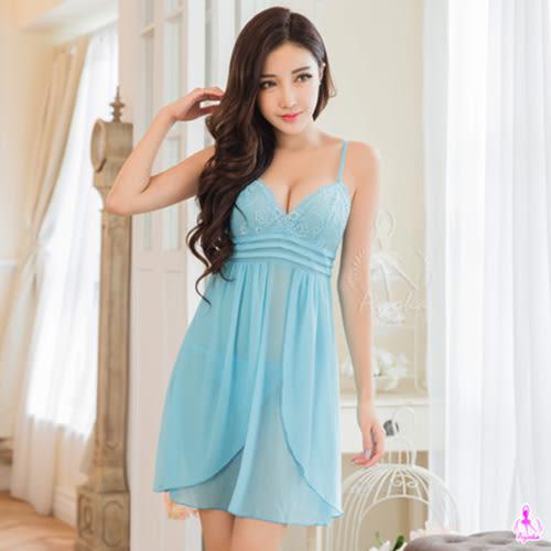 湖水藍緹花蕾絲柔紗二件式睡衣 性感內衣 《SV8170》快樂生活網