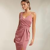 禮服 年會名媛氣質小禮服 V領不對稱褶皺收腰顯瘦中長洋裝