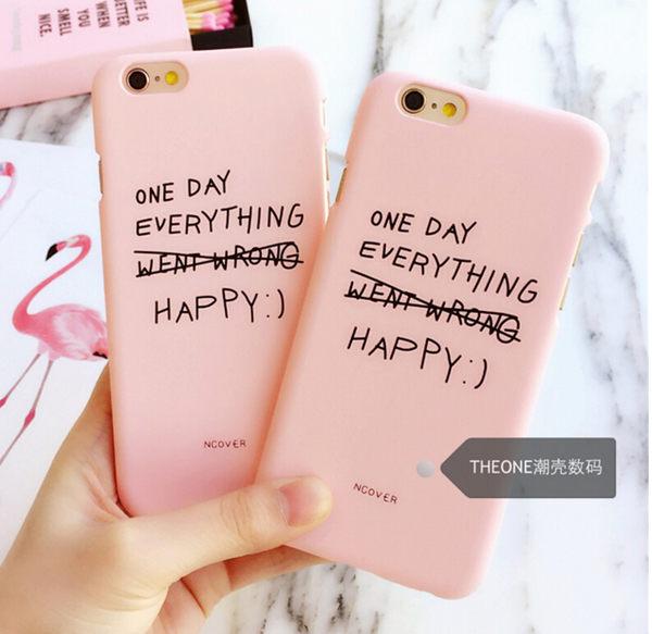 【SZ】iPhone 7/8 手機殼 半包邊 粉色交叉英文字母 磨砂硬殼 iPhone 5/6/6s plus/7 plus 保護殼