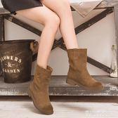 中筒靴女冬季加絨雪地靴子瘦瘦中靴網紅冬靴新款平底磨砂短靴    東川崎町    YYS
